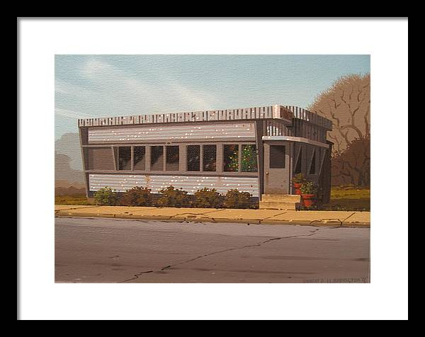 Diner Framed Print featuring the painting Holiday Diner by Robert P Waddington