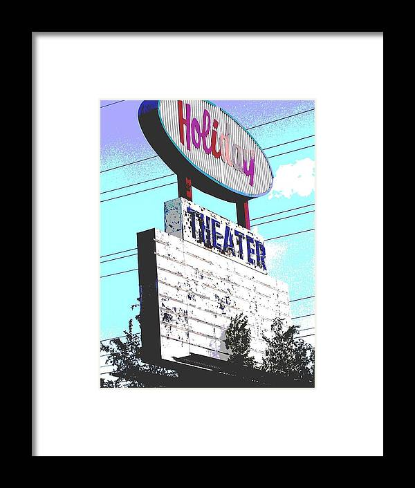Theater Framed Print featuring the photograph Holiday Drive In by Audrey Venute