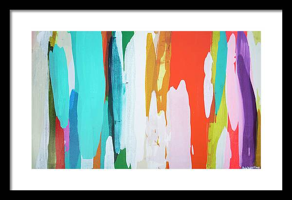 Abstract Framed Print featuring the painting Holiday Everyday by Claire Desjardins