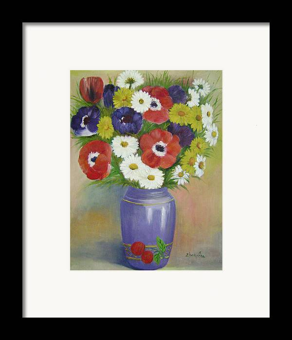 Floral Framed Print featuring the painting Holiday Flowers by Lian Zhen