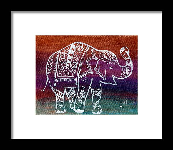 Hindu Mythology Framed Print featuring the painting Holi's First Dance by Jaime Haney