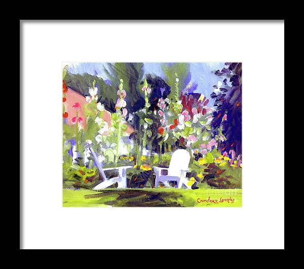 Colony Hotel Framed Print featuring the painting Holly Hocks by Candace Lovely