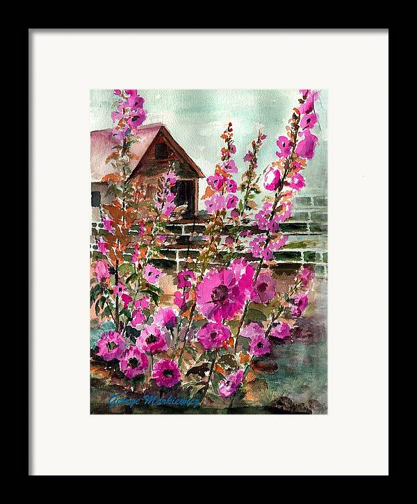 Flowers Framed Print featuring the print Hollyhock Barn by George Markiewicz