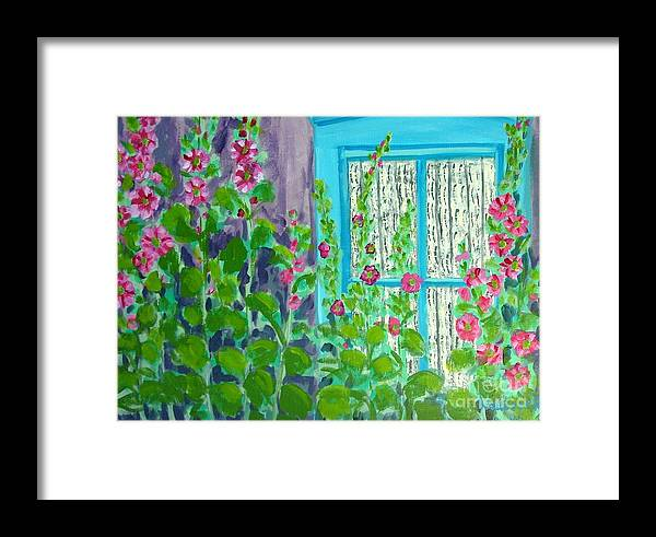 Hollyhocks Framed Print featuring the painting Hollyhock Surprise by Laurie Morgan