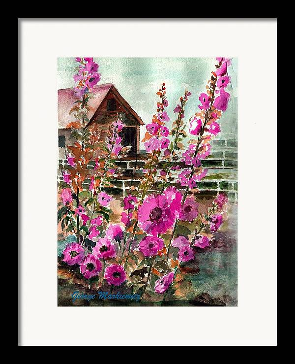 Hollyhocks And Bard Framed Print featuring the print Hollyhocks And Barn by George Markiewicz