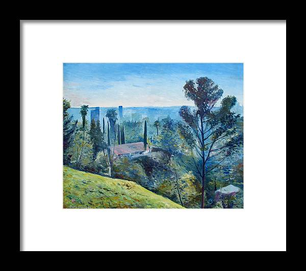 Hollywood Framed Print featuring the painting Hollywood Hills California Usa 1997 by Enver Larney
