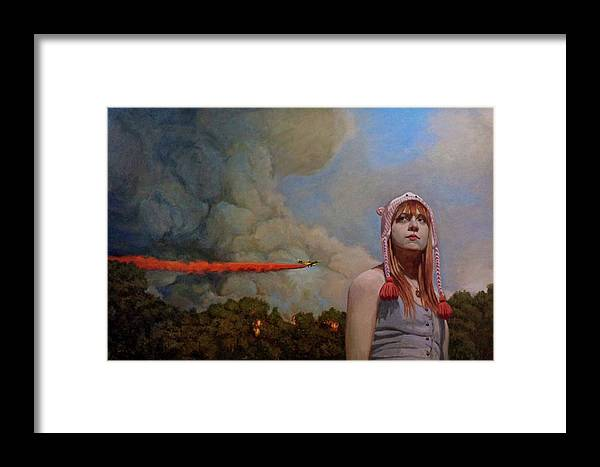Fire Framed Print featuring the painting Hollywood by Micheal Foulkrod