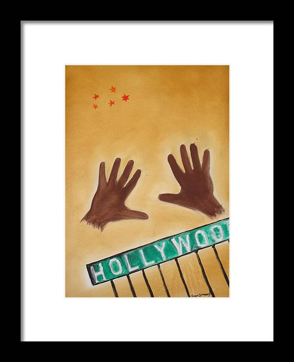 Cinema Film Framed Print featuring the painting Hollywood by Roger Cummiskey