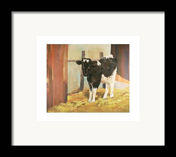 Cow Framed Print featuring the painting Holstein Calf by Robert Tutsky
