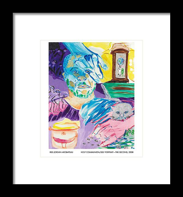 Portrait Framed Print featuring the painting Holy Communion Self Portrait The Second by Red Jordan Arobateau