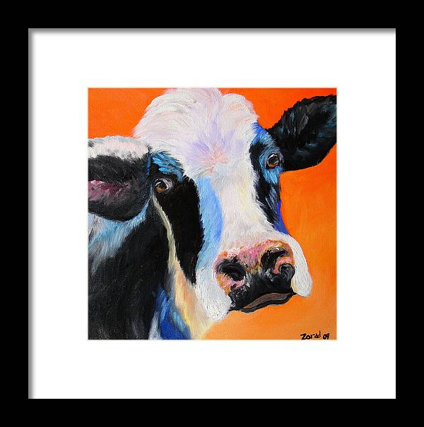 Animal Framed Print featuring the painting Holy Cow by Mary Jo Zorad