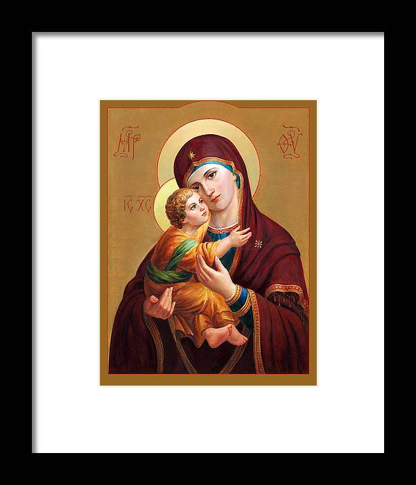 Altar Framed Print featuring the painting Holy Mother Of God - Blessed Virgin Mary by Svitozar Nenyuk