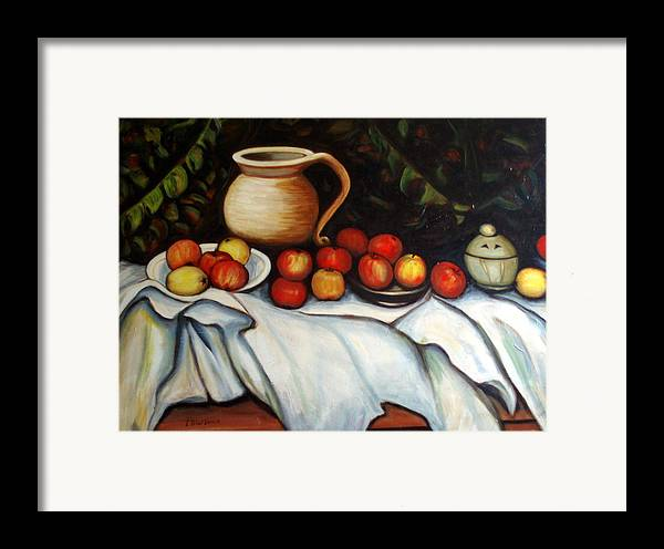 Still Life Framed Print featuring the painting Homage To Cezanne by Lia Marsman