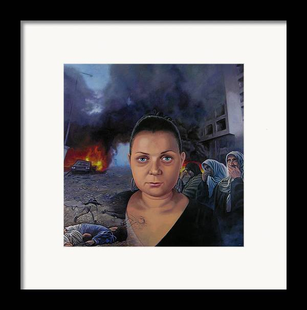 Layal Nagib Framed Print featuring the painting Homage To Layal Nagib by Miguel Tio