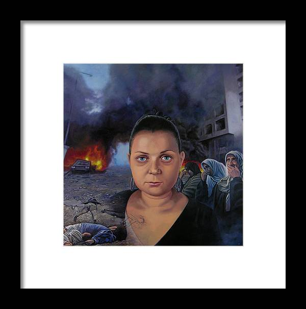 Layal Nagib Framed Print featuring the painting Homage To Layal Nagib by Miguel Tio