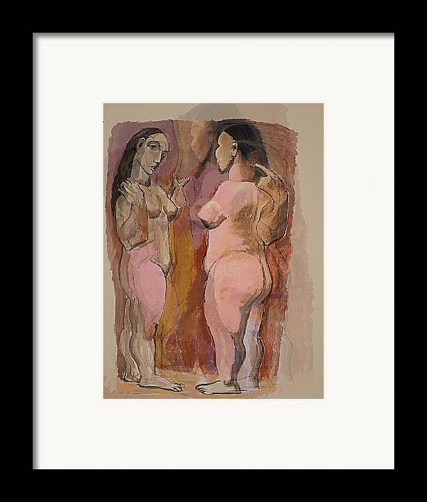 Nudes Framed Print featuring the mixed media Homage To Pablo by Noredin Morgan
