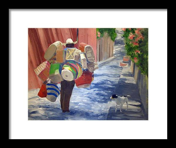 Mexico Framed Print featuring the painting Hombre De Cestas by Neal Smith-Willow