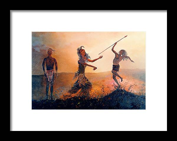 Africa Framed Print featuring the painting Home Comeing by Richard Barham