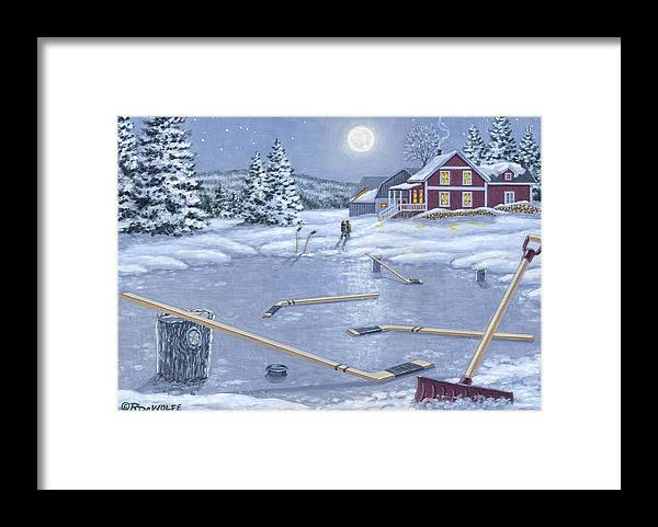 Hockey Framed Print featuring the painting Home For Supper by Richard De Wolfe