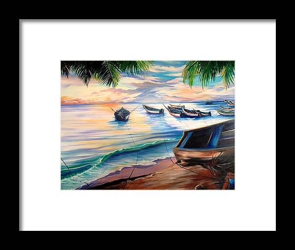 Ocean Painting Caribbean Painting Seascape Painting Beach Painting Fishing Boats Painting Sunset Painting Blue Palm Trees Fisherman Trinidad And Tobago Painting Tropical Painting Framed Print featuring the painting Home From The Sea by Karin Dawn Kelshall- Best