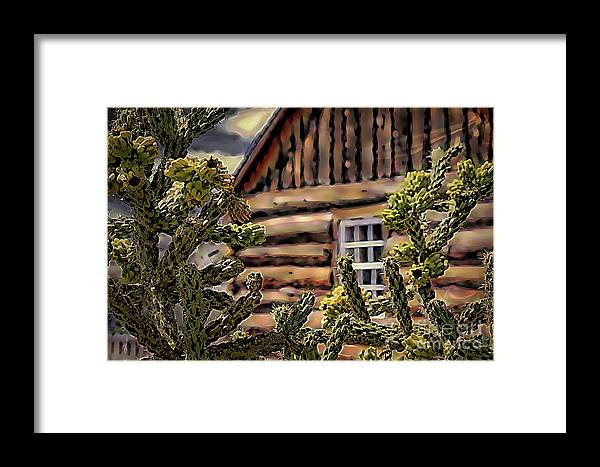 Log Home Framed Print featuring the digital art Home In The Desert by Gina Geldbach-Hall