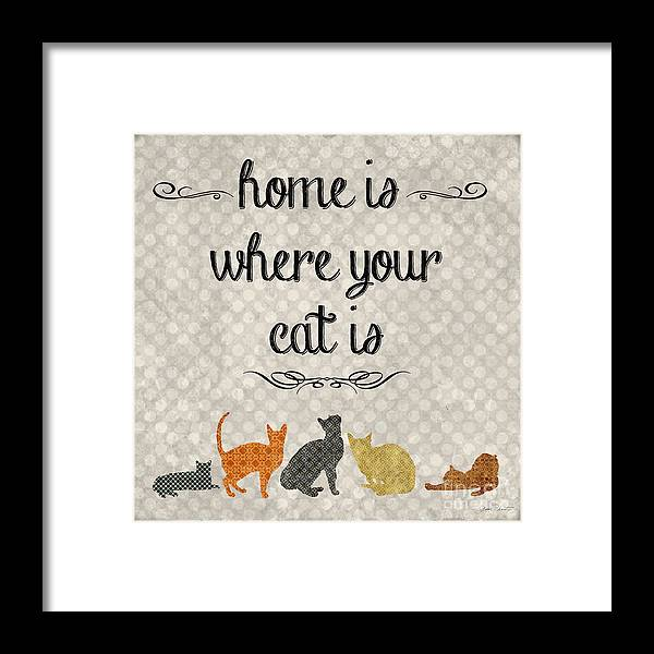 Wall Art Framed Print featuring the painting Home Is Where Your Cat Is-jp3040 by Jean Plout