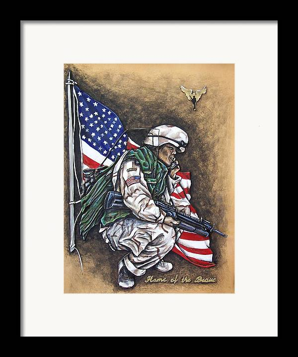 Flags Framed Print featuring the painting Home Of The Brave by Lilly King