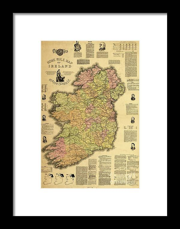 Print Map Of Ireland.Home Rule Map Of Ireland 1893 Framed Print