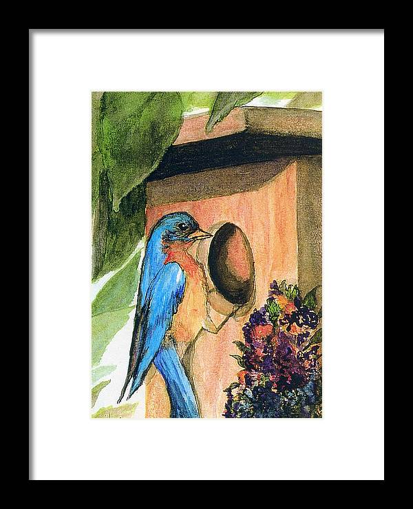 Bluebirds Framed Print featuring the painting Home Sweet Home by Gail Kirtz