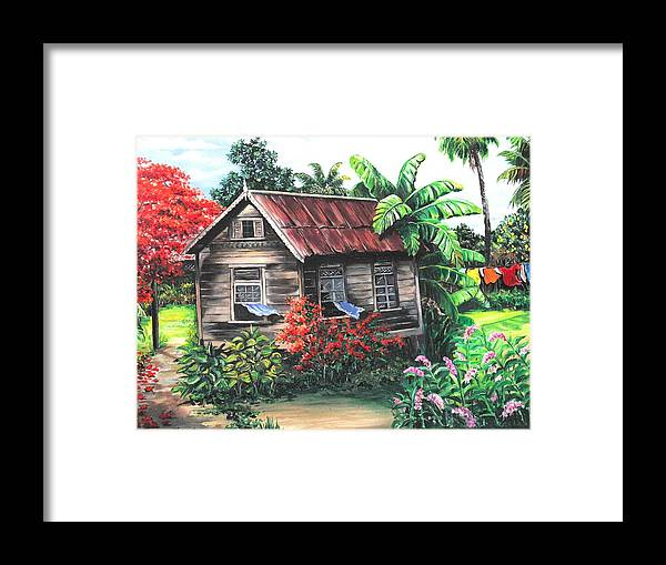 Caribbean House Framed Print featuring the painting Home Sweet Home by Karin Dawn Kelshall- Best
