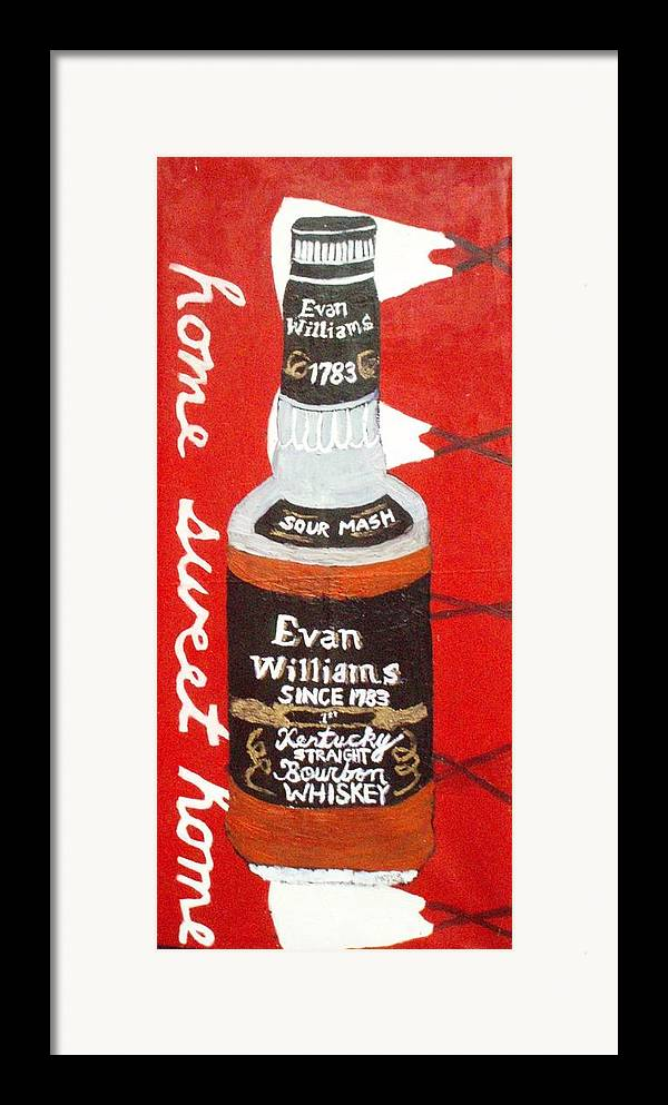 Wiskey  Bottle With Teepees Framed Print featuring the painting Home Sweet Home by Patrice Tullai