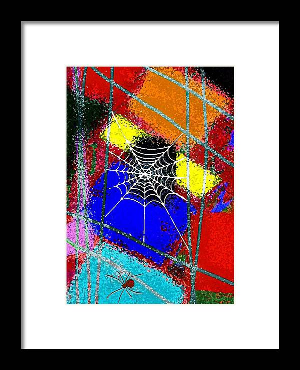 Spider Framed Print featuring the mixed media Home Sweet Spider Home by Mimo Krouzian