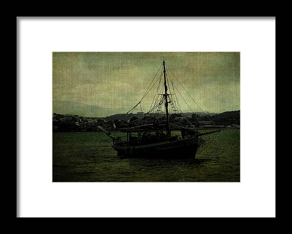 Yacht Framed Print featuring the digital art Homecoming Pirate by Sarah Vernon