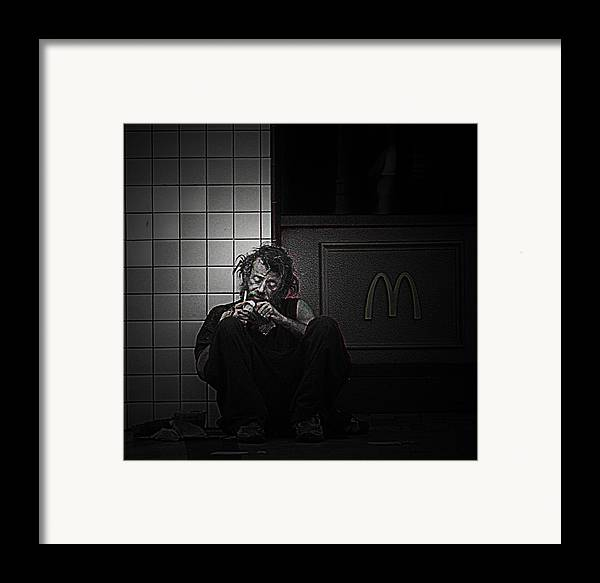 Homeless Framed Print featuring the photograph Homeless In Los Angeles by LoungeMode Production Art