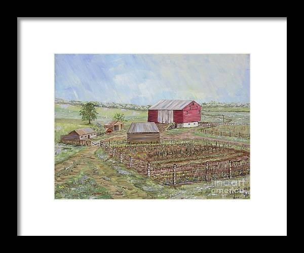 Red Barn With Several Other Small Sheds; Garden In Foreground; Landscape Framed Print featuring the painting Homeplace - The Barn And Vegetable Garden by Judith Espinoza
