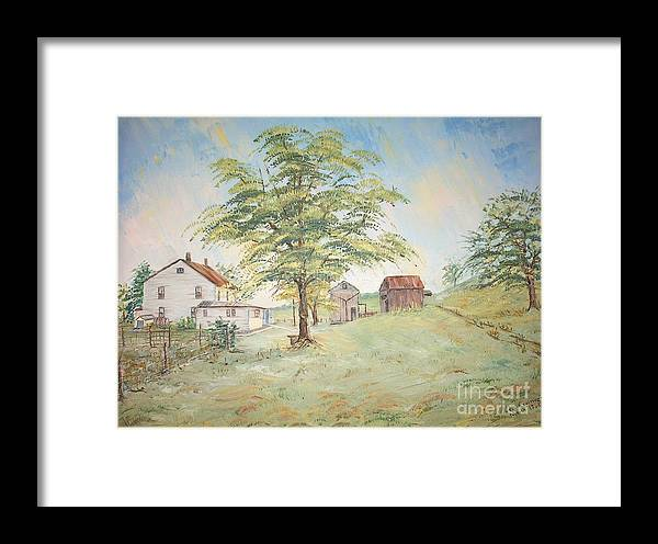 White House; 2 Sheds; Green Tree In Foreground; Set Of 4 Homeplace Prints For $100.00 Framed Print featuring the painting Homeplace - The Farmhouse by Judith Espinoza