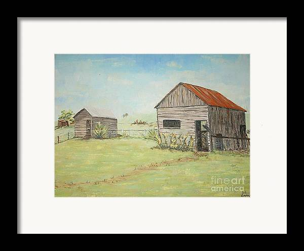 2 Small Sheds; Light Green Yard; Old Buildings Framed Print featuring the painting Homeplace - The Smokehouse And Woodhouse by Judith Espinoza