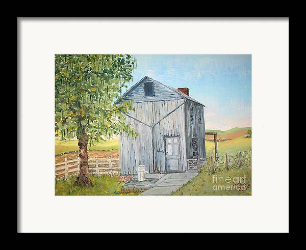 Old Gray Building Beside Green Tree; 2 Kinds Of Fence Framed Print featuring the painting Homeplace - The Washhouse by Judith Espinoza