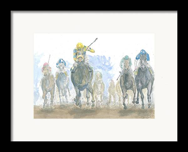 Horse Race Framed Print featuring the painting Homestretch by Dan Bozich