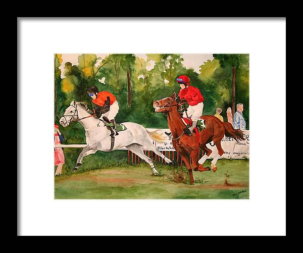 Racing Framed Print featuring the painting Homestretch by Jean Blackmer