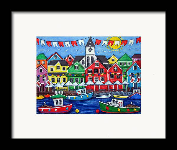 Boats Canada Colorful Docks Festival Fishing Flags Green Harbor Harbour Framed Print featuring the painting Hometown Festival by Lisa Lorenz