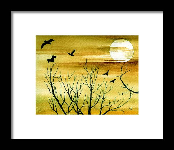Landscape Watercolor Birds Ravens Crows Trees Sun Sunset Sky Clouds Framed Print featuring the painting Homeward by Brenda Owen
