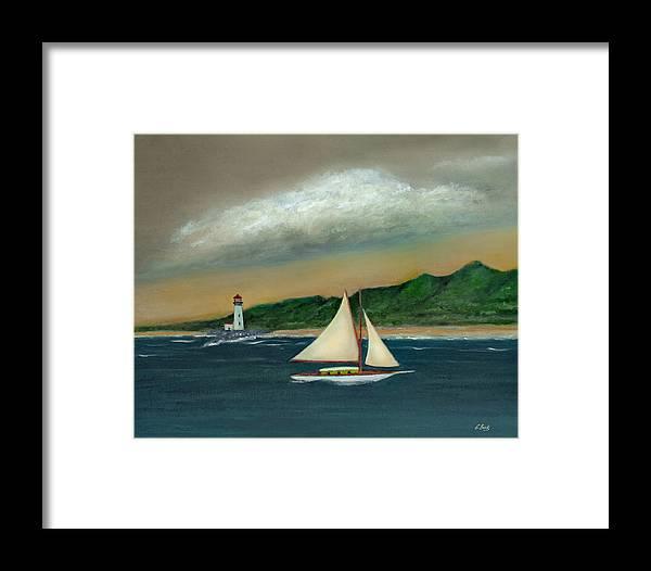 Ocean Seascape Sailboat Lighthouse Shoreline Nature Travel Gordon Beck Art Framed Print featuring the painting Homeward by Gordon Beck