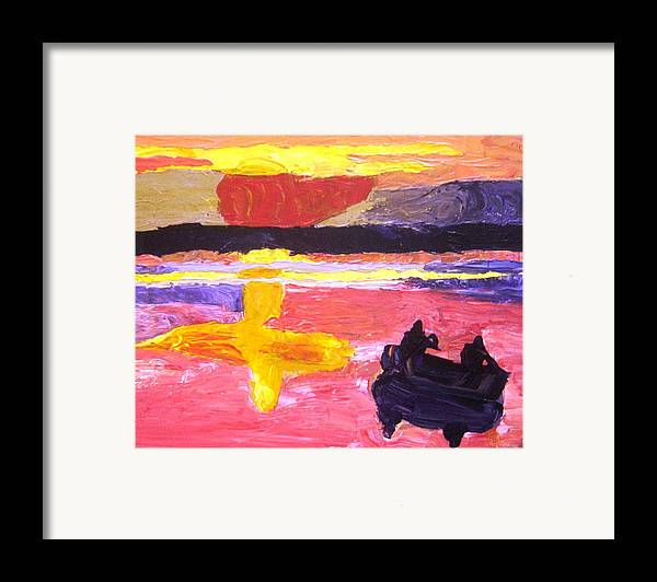 Canoe Framed Print featuring the painting Homeward Paddle by Karen L Christophersen