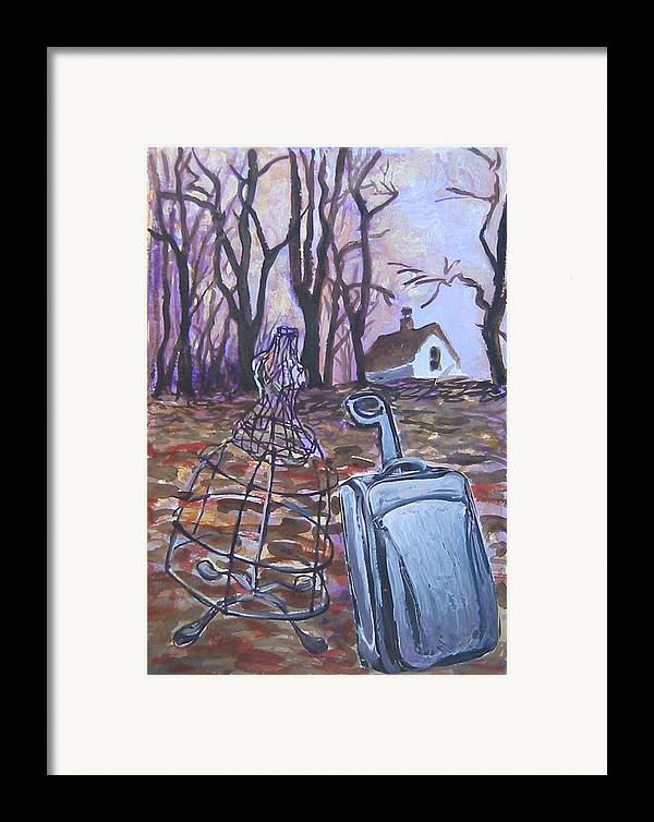 Suitcase Framed Print featuring the painting Homeward Trek by Tilly Strauss