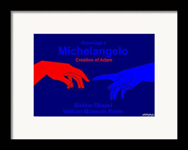 Michelangelo Framed Print featuring the digital art Hommage A Michelangelo by Asbjorn Lonvig