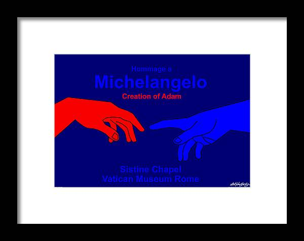 Michelangelo Framed Print featuring the digital art Hommage A Michelangelo by Asbjorn Lonvig