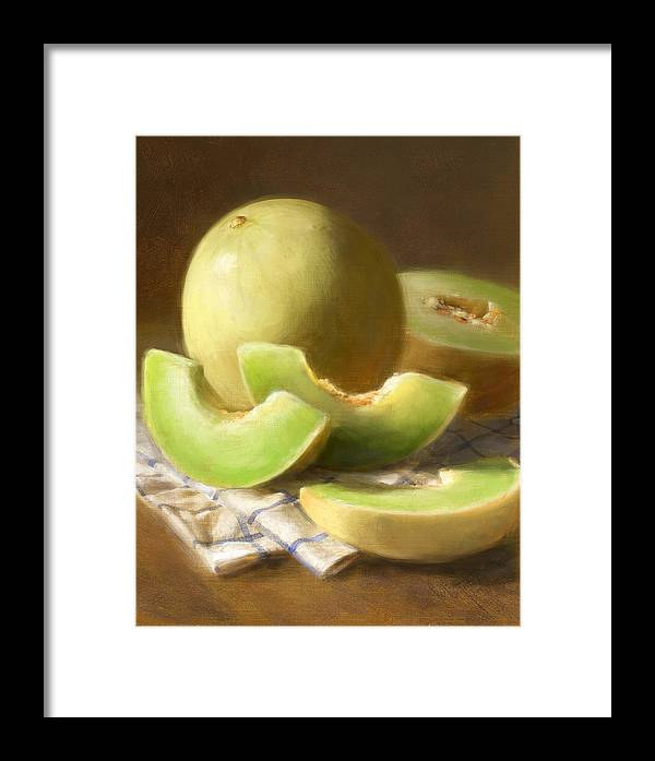 Honeydew Framed Print featuring the painting Honeydew Melons by Robert Papp