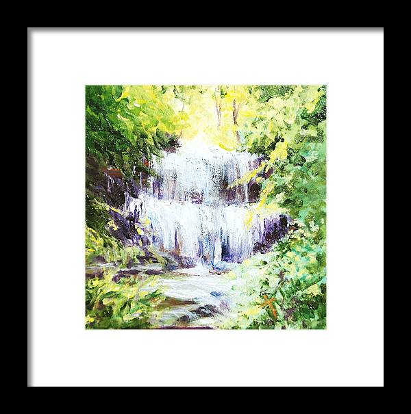 Waterfall Framed Print featuring the painting Honeysuckle At West Milton Falls by Donna Pierce-Clark