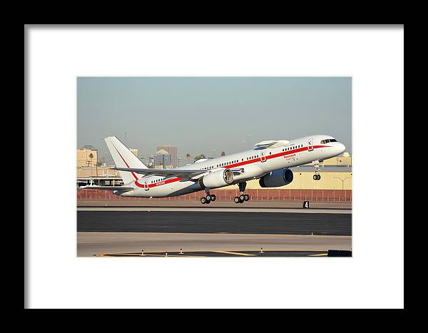 Airplane Framed Print featuring the photograph Honeywell Boeing 757-225 N757hw Phoenix Sky Harbor January 14, 2016 by Brian Lockett